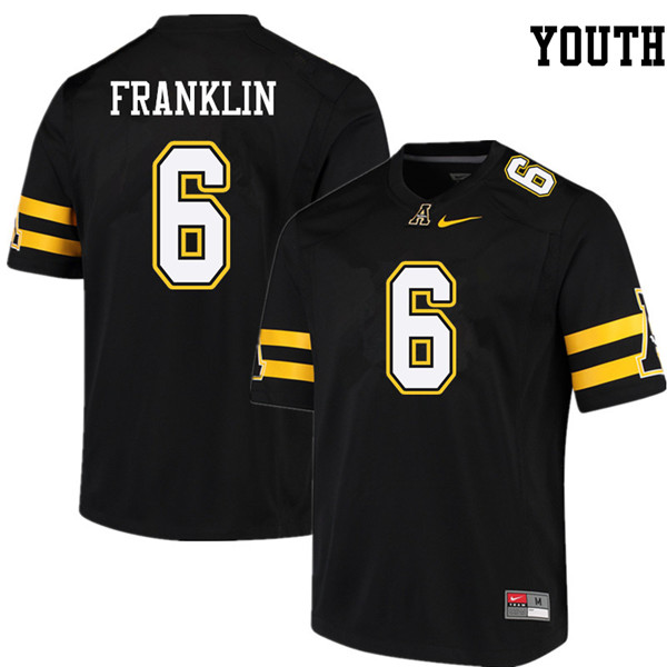 Youth #6 Desmond Franklin Appalachian State Mountaineers College Football Jerseys Sale-Black