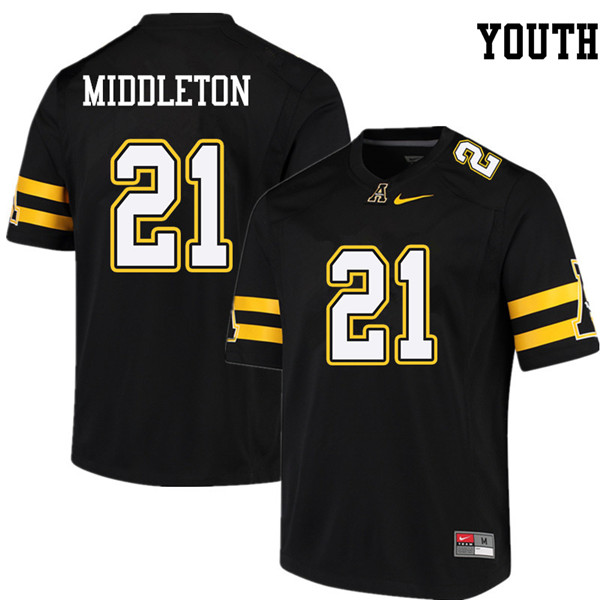 Youth #21 Doug Middleton Appalachian State Mountaineers College Football Jerseys Sale-Black