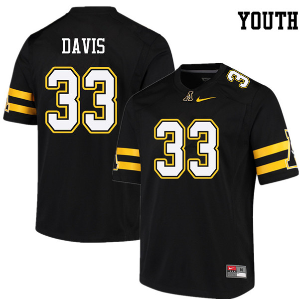 Youth #33 Edward Davis Appalachian State Mountaineers College Football Jerseys Sale-Black