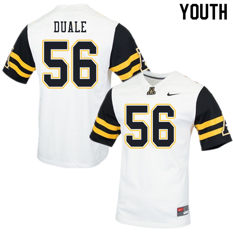 Youth #56 Guled Duale Appalachian State Mountaineers College Football Jerseys Sale-White