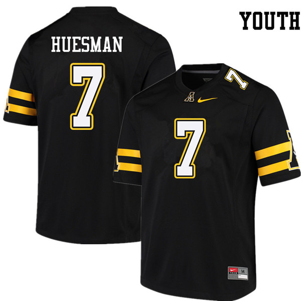 Youth #7 Jacob Huesman Appalachian State Mountaineers College Football Jerseys Sale-Black