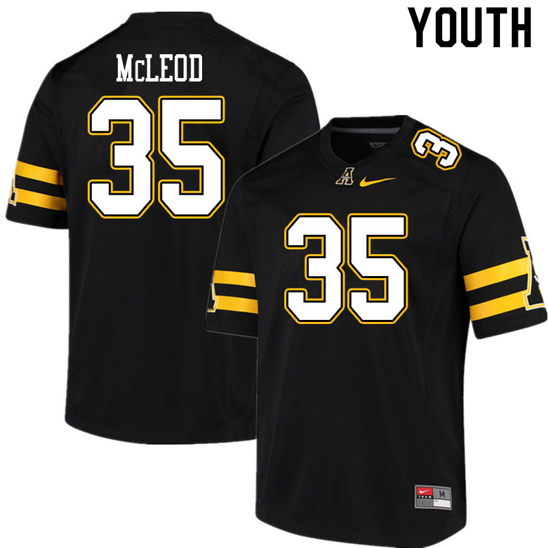 Youth #35 Jalen McLeod Appalachian State Mountaineers College Football Jerseys Sale-Black