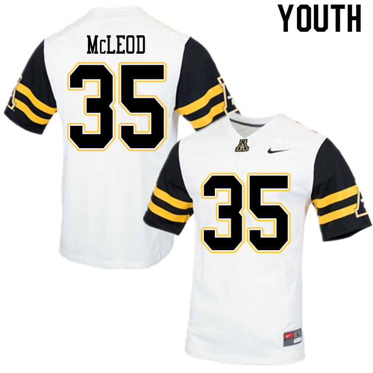 Youth #35 Jalen McLeod Appalachian State Mountaineers College Football Jerseys Sale-White