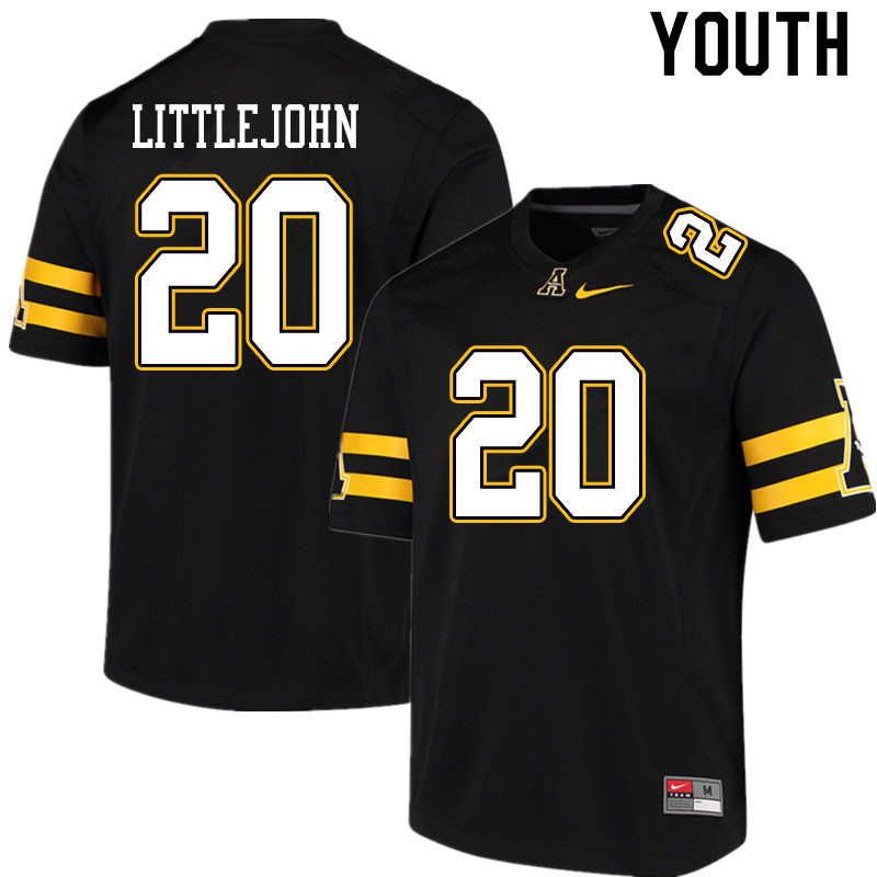 Youth #20 Je'Mari Littlejohn Appalachian State Mountaineers College Football Jerseys Sale-Black