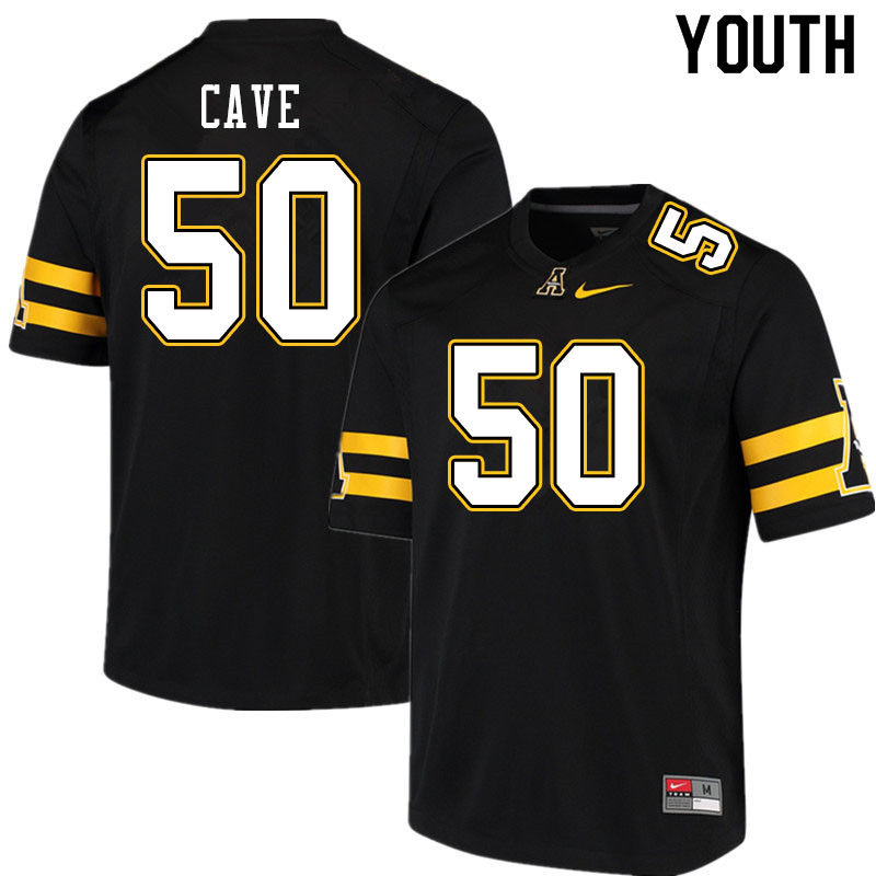 Youth #50 Joey Cave Appalachian State Mountaineers College Football Jerseys Sale-Black