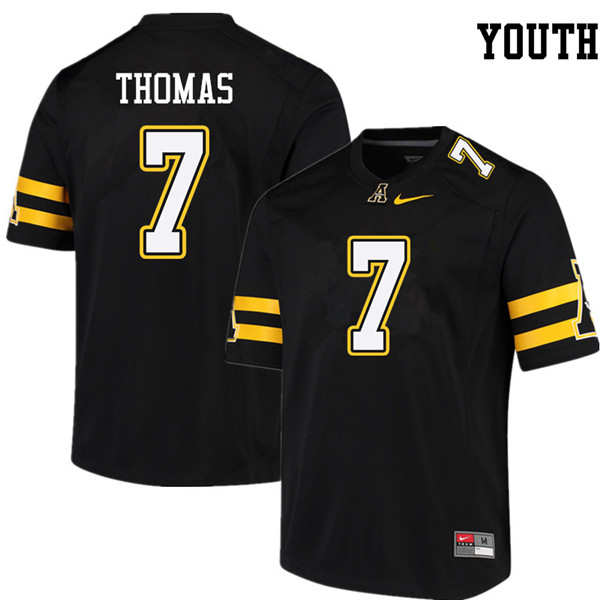 Youth #7 Josh Thomas Appalachian State Mountaineers College Football Jerseys Sale-Black