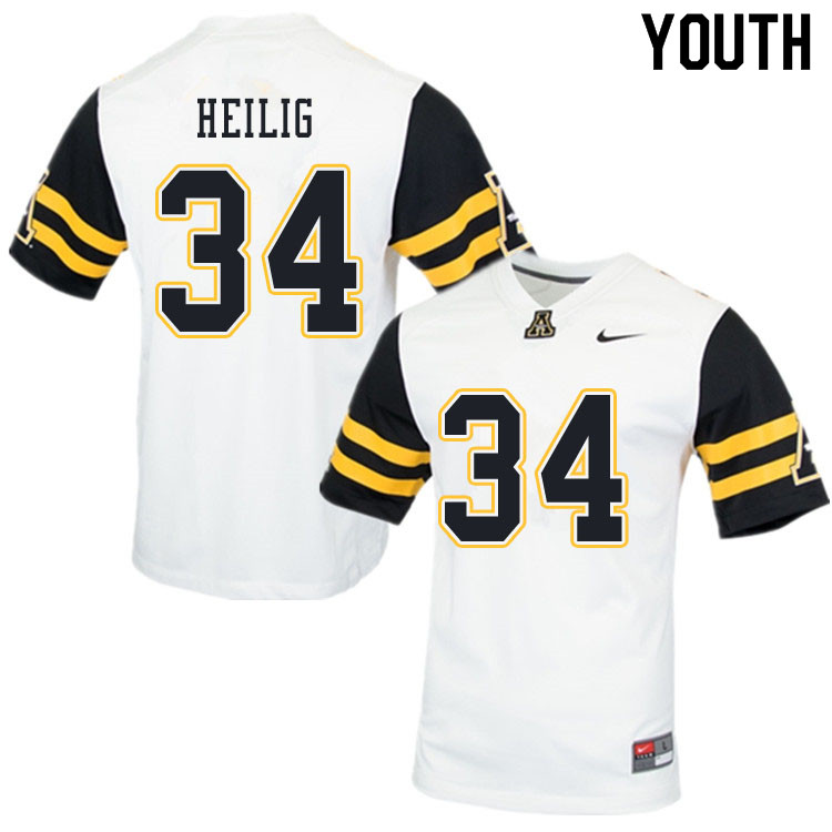 Youth #34 Jourdan Heilig Appalachian State Mountaineers College Football Jerseys Sale-White