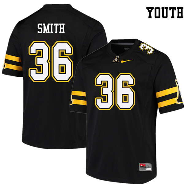 Youth #36 Kaiden Smith Appalachian State Mountaineers College Football Jerseys Sale-Black