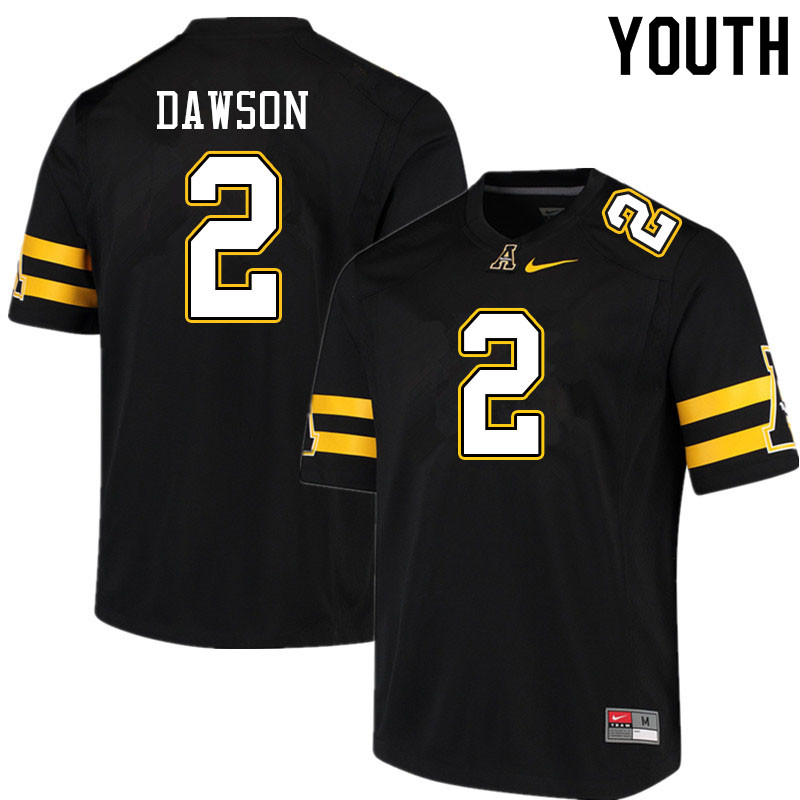 Youth #2 Kaleb Dawson Appalachian State Mountaineers College Football Jerseys Sale-Black