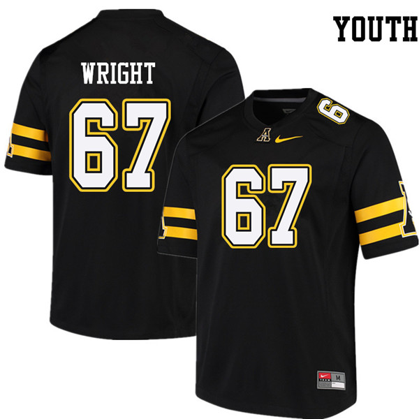 Youth #67 Logan Wright Appalachian State Mountaineers College Football Jerseys Sale-Black