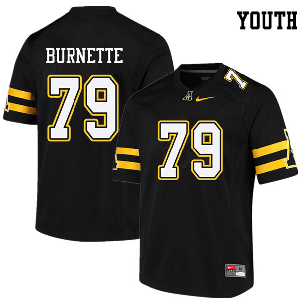 Youth #79 Luke Burnette Appalachian State Mountaineers College Football Jerseys Sale-Black