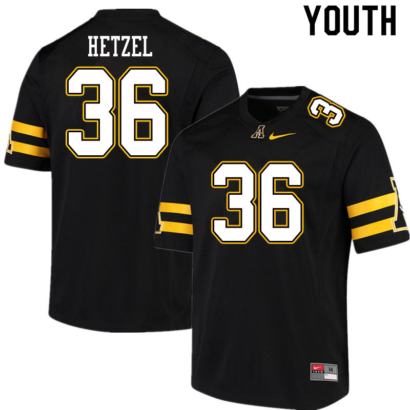 Youth #36 Michael Hetzel Appalachian State Mountaineers College Football Jerseys Sale-Black