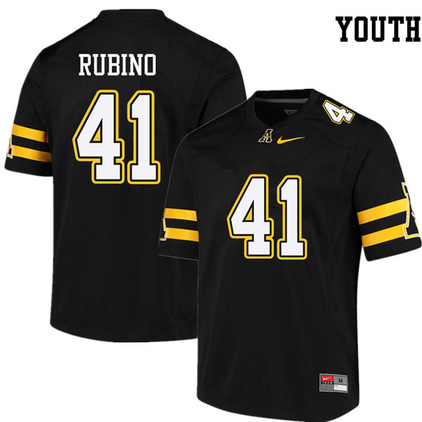 Youth #41 Micheal Rubino Appalachian State Mountaineers College Football Jerseys Sale-Black