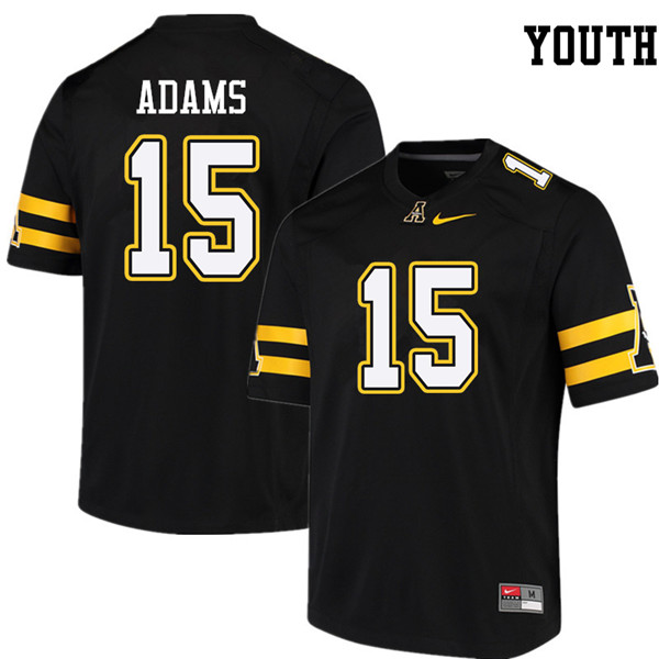 Youth #15 Mock Adams Appalachian State Mountaineers College Football Jerseys Sale-Black