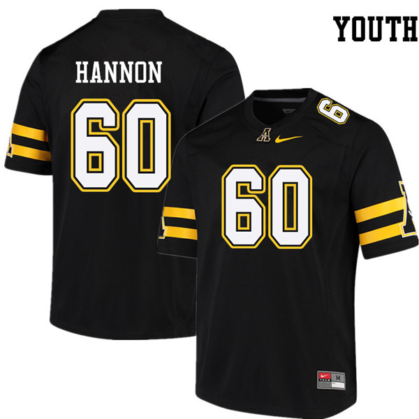 Youth #60 Noah Hannon Appalachian State Mountaineers College Football Jerseys Sale-Black