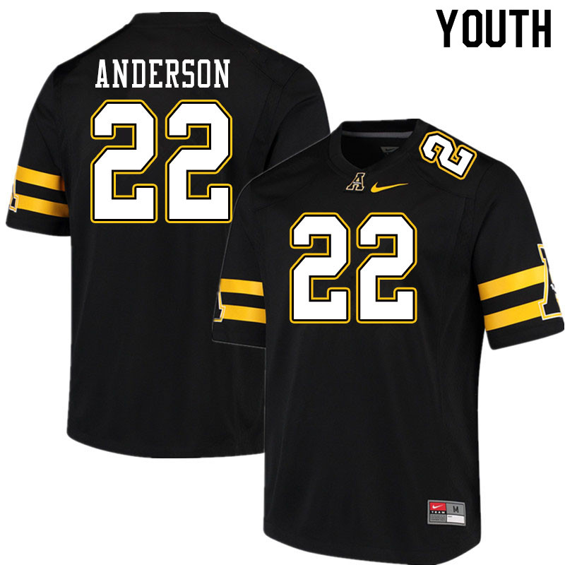 Youth #22 Raykwon Anderson Appalachian State Mountaineers College Football Jerseys Sale-Black