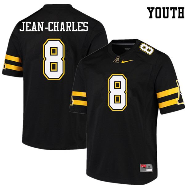 Youth #8 Shemar Jean-Charles Appalachian State Mountaineers College Football Jerseys Sale-Black