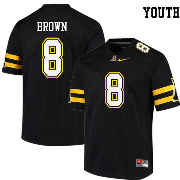 Youth #8 Stephon Brown Appalachian State Mountaineers College Football Jerseys Sale-Black