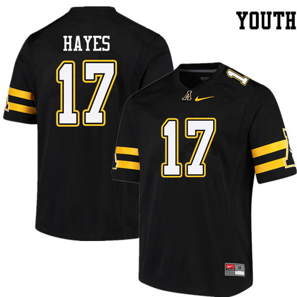 Youth #17 Tae Hayes Appalachian State Mountaineers College Football Jerseys Sale-Black