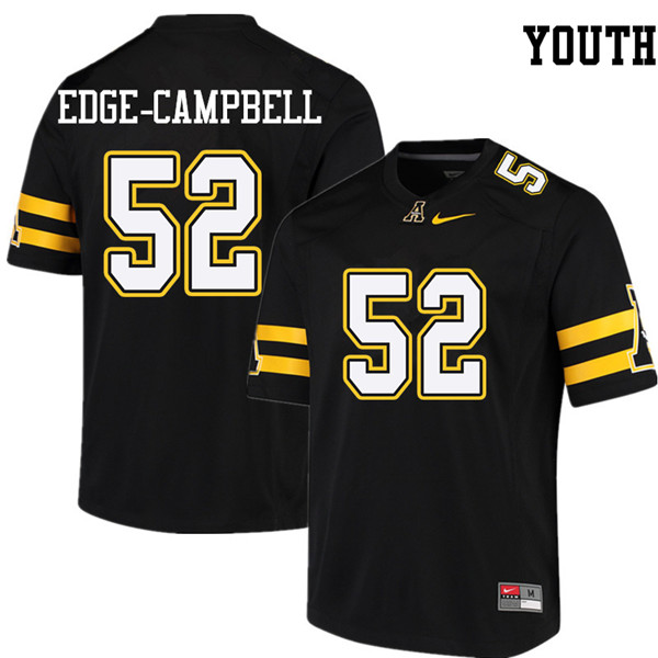 Youth #52 Tobias Edge-Campbell Appalachian State Mountaineers College Football Jerseys Sale-Black