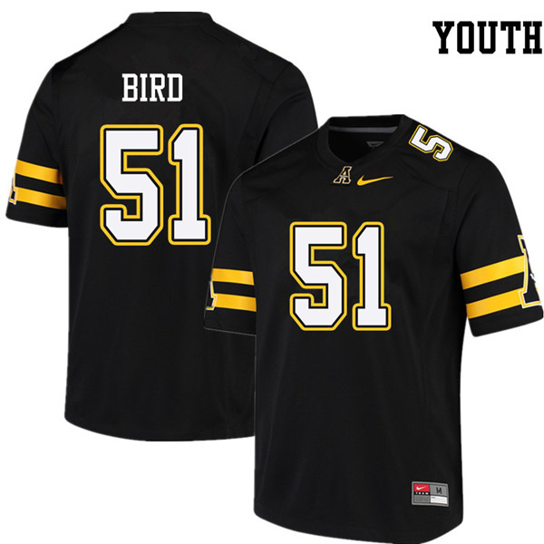 Youth #51 Tyler Bird Appalachian State Mountaineers College Football Jerseys Sale-Black