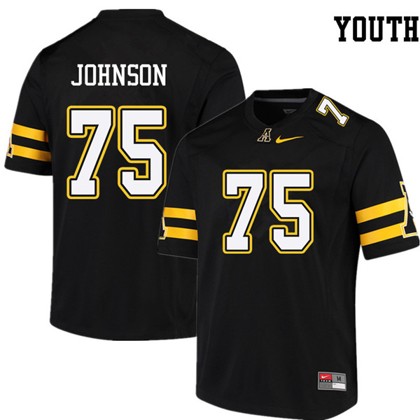 Youth #75 Victor Johnson Appalachian State Mountaineers College Football Jerseys Sale-Black