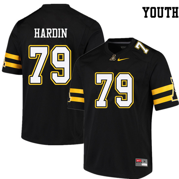 Youth #79 Will Hardin Appalachian State Mountaineers College Football Jerseys Sale-Black
