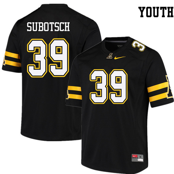 Youth #39 Xavier Subotsch Appalachian State Mountaineers College Football Jerseys Sale-Black
