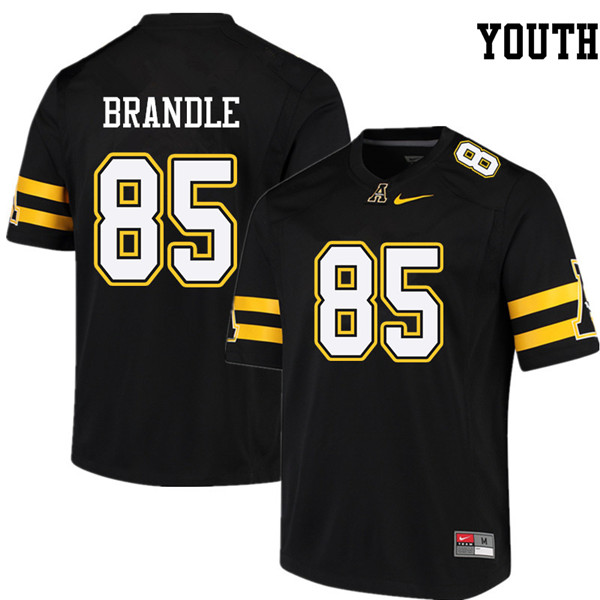 Youth #85 Zeke Brandle Appalachian State Mountaineers College Football Jerseys Sale-Black